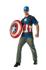 Captain America Adult Mens T-Shirt & Mask, Red/Blue, Rubies