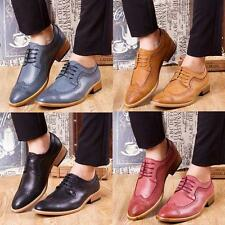 Wing Tips Retro Men's Casual Brogues Leather Lace Up Oxfords Formal Dress Shoes