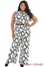 Plus Size Casual Wide Leg Jumpsuits Checks Color Block Women Sexy Rompers W/Belt