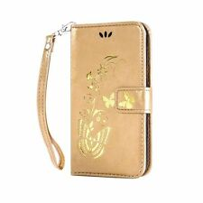 Gold Butterfly Flower vine Leather Flip Wallet Case Cover Stand Card for Phones