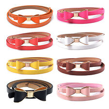 Women Fashion Candy Color Big Bowknot PU Leather Thin Skinny Waistband Belt T1