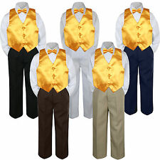 4pc Boys Baby Toddler Kids Yellow Vest Bow Tie Formal Set Suit S-7