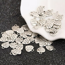 New 50Pcs Silver/Gold Plated MADE WITH LOVE Heart Charms  Pendants Beads