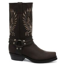 Grinders Bald Eagle Brown Leather Cowboy Boot Slip On Square Toe Front Boots