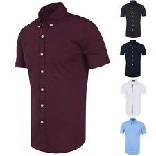 Mens Short Sleeve Casual Shirt Slim Fit Fashion Tops Button-front Dress Shirts