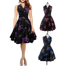 Women Vintage Style 50'S 60'S Casual Floral Print Evening Party Prom Dress
