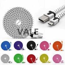 3/6/10ft Braided Flat Micro USB A to USB B Data Charger Cable For Android Phones