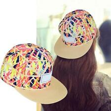 Womens Mens Floral Snapback Hip-Hop Hat Flat Peaked Adjustable Baseball Cap BH