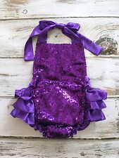 Baby Purple Sequin Romper- Purple Ruffle Romper- Sequin First Birthday Outfit