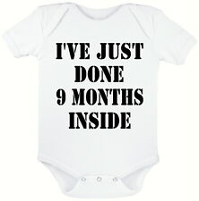 9 MONTHS INSIDE WHITE BABY GROW, NOVELTY BABY SUIT,  SIZES 0 - 12 MONTHS