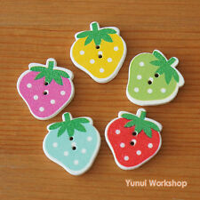 Puffy Strawberry Wood Buttons Multicolor Dot Cute Spring Fruit Sewing DIY Craft