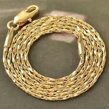 Womens Mens Hip Hop Jewelry Yellow Gold Filled Snake Chain Wheat Necklace