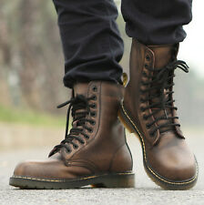 Military Combat Men's Leather Lace Up Motorcycle Biker Punk Gothic Rock Boots