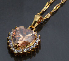 Zircon Heart Pendant Gold Filled Yellow Two Colors Girls No Chain