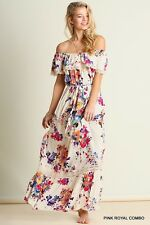 Romantic Flirty UMGEE G0042 Sexy Floral Maxi BOHO Gypsy Bohemian Peasant Dress