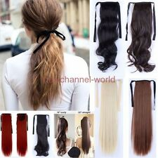 Long Layered Tie Up Pony Tail Clip-In Hair Piece Extension Wrap Around Ponytail