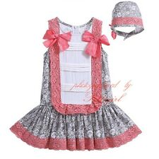 Baby Girls Tutu Dress + Bonnet Hat Set Toddler Infant Party Princess Floral Lace