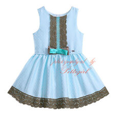 Kids Girls Floral Lace Party Dress Wedding Princess Pageant Pleated Sleeveless