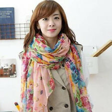 Women Flower Soft Voile Scarf Long Wraps Shawl Beach Towel Printing Fashion