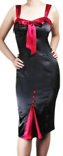 Sexy Pencil Dress, Black & Red Satin, Rockabilly Retro Pin Up, Size 8