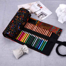 Roll Up 36/48/72 Slots Canvas Pen Pencil Bag Brush Case Drawing Sketching Black