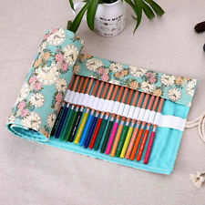 Roll Up 36/48/72 Slots Canvas Pen Pencil Bag Brush Case Drawing Sketching Rose