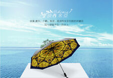 Womens Bohemia Marble Pillar Folding Anti-UV Parasol Rain/Sun Umbrella Printing