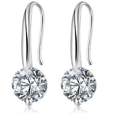 1 Pair Elegant Zircon Earrings for Women Lady Silver Plated Dangle Earring Gifts