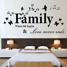 FAMILY Where lif begins & love never ends  vinyl wall art sticker decal quote