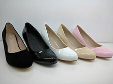 WOMENS LADIES PATENT SUEDE WORK PARTY KITTEN HEELS FORMAL COURT SHOES SIZE