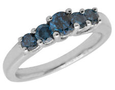 Ladies White Gold Over Sterling Silver Treated 5 Blue Diamond Ring Band 0.75Ct