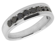 Sterling Silver White Finish Comfort Fit Treated Black Diamond Band Ring 1.10ct