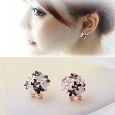 A Pair Flower Clover New Fashion Women Rhinestone Bouquet Ear Stud Earrings Lady