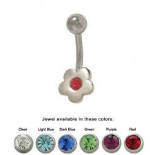 Flower Design Belly Ring with Jewel