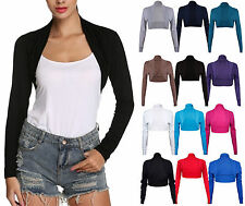 NEW Womens Ladies Long Sleeve Cropped Plain Bolero Shrug Jacket Top S-XXL