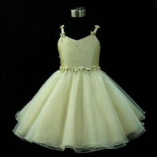 Kids Gold Beige Fairytale Christmas Wedding Party Girls Dresses SIZE 2-4-6-8-10Y