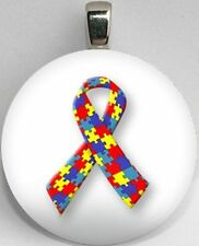 Handmade Interchangeable Magnetic Autism Awareness Ribbon Pendant Necklace
