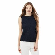 Rjr.John Rocha Womens Navy Floral Lace Sleeveless Top From Debenhams
