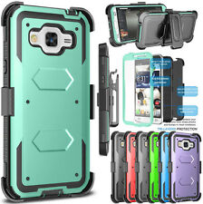 For Samsung Galaxy J3 Clip Holster Stand Case Cover W/Built-in Screen Protector