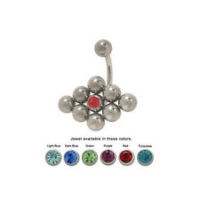 Surgical Steel Jeweled Belly Ring 14G Navel Button Barbell