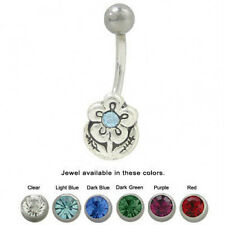 Flower Belly Button Ring with CZ Jewel