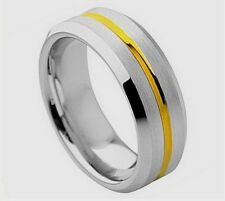 AMZ 8Mm Tungsten Carbide Wedding Band Ring Yellow Gold Plated Grooved Center