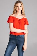 Sexy Vermillion Red Cold Off Shoulder Bardot 60s Style Strappy Crop Top NWT