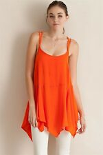 Sexy Bright Orange Scarf Handkerchief Hem BOHO BOhemian Gypsy Tank Cami Top NWT