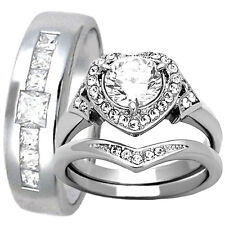 3 PC Engagement Wedding Match Ring Set CZ Women's Men's 7mm Band Stainless Steel