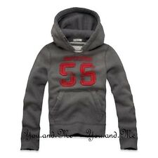 NEW ABERCROMBIE & FITCH KIDS A&F Boys Vintage Varsity Hoodie Pullover DK Grey M