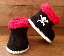 Baby Goth Emo Punk Hand Knitted Booties  Boots Skull Crossbones 0-12 Months