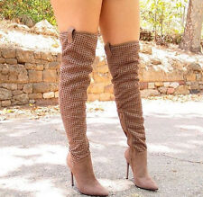 Privileged Mateo Perforated Over the Knee Thigh High Pointy Toe High Heel Boots