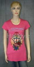 ED Hardy T True Love PEACE Cross PINK Rhinestones platinum **rare** M