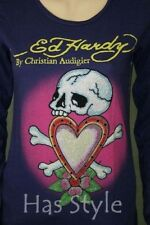 ED Hardy Women's Long Sleeve T-Shirt Skull and Love Heart Rhinestones